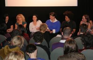 Diskussionsrunde der Pornoregisseurinnen: Ovidie, Anna Peak, Renee Pornero, Anna Brownfield, Shine Louise Houston und Julie Simone.  Foto: rsp