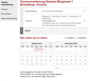...und auch nicht später. Termine in Bürgerämtern sind derzeit Mangelware. Screenshot: berlin.de