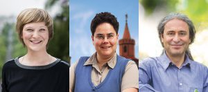 Die Direktkandidaten der Grünen: Katrin Schmidberger (WK1), Marianne Burkert-Eulitz (WK2) und Dr. Turgut Altug (WK3).  Fotos: Grüne / Erik Marquard