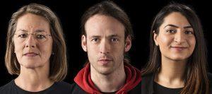 Direktkandidaten der Linken: Gaby Gottwald (WK1), Pascal Meisner (WK2) und Jiyan Durgun (WK3).  Fotos: Linke Berlin