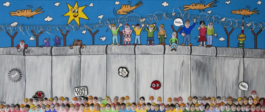 Feiernde Menschen auf Berliner Mauer. Pop-Art von Tutu