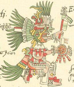 Sonnengott Huitzilopochtli in einer Darstellung aus dem Codex Telleriano-Remensis