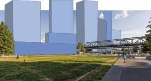 Gleisdreieckpark mit 3D-Modell der geplanten Hochhäuser