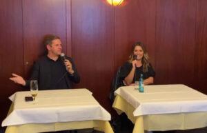 Kevin Kratzsch und Marita Fabeck beim Redaktionsgespräch im Restaurant Split